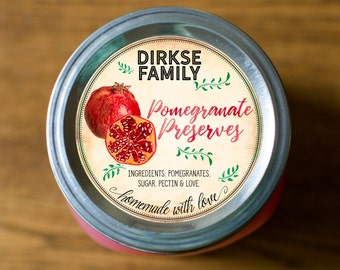 Customized Label - Pomegranate Jam, Jelly, Preserves, Canning Jar Label - Wide Mouth & Regular Mouth - Vintage - All Text is Customizable
