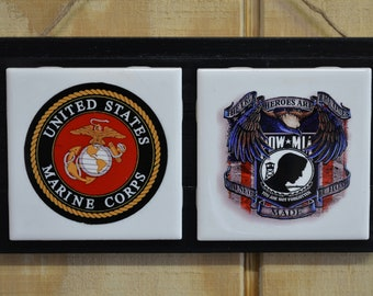 Man Cave Decor,Marine wall decor,man cave,Fathers Day Gifts,man cave signs,MIA POW wall signs,ceramic tile,heat press,marine signs.