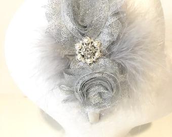 Silver Glitter Pearl Marabou Headband. Holiday Silver Headbands, Flower Girl Hair, Bridal Headbands, Dance Costume Silver Headband