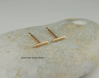 14K Gold Studs Minimalist Earrings Gold Bar Earrings Solid Gold Earrings Gold Line Earrings Minimalist Jewelry