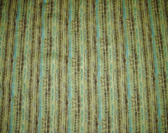 Cotton Fabric, By Legacy Studio, Pattern, Harmony Bamboo, Olive Green And Aqua. 1-1/3 Yards