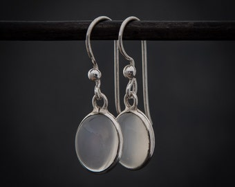 Moonstone Earrings, White Moonstone, Silver Drops, Birthstone Jewellery, Sterling Silver