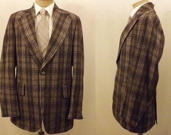 70s Martinelli 3 pc Gray Windowpane Check Plaid Suit Size 40