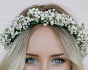 BABY'S Breath Floral Crown | Dried Babies Breath Wreath | Wedding headband | Dry Floral Crown | Wedding Crown, Newborn Babys Breath