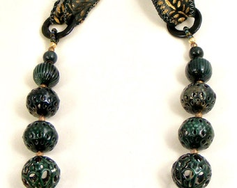 Dark Green Enamel Necklace with Green and Antique Gold Sari Ribbon