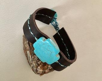 Bracelet turquoise leather