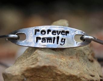 Forever Family Mantra Bangle Bracelet, Hand Stamped Bangle Bracelet, Gift for Family Member, Gift for Family Members, White Copper -Family