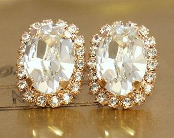 Bridal Crystal Earrings,Rose Gold Crystal Earrings,Swarovski Crystal Earrings,Oval Crystal Studs,Bridal Swarovski Earrings,Bridesmaids Studs