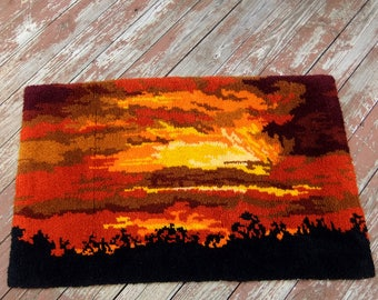 Large Vintage Latch Hook Rug Sunset Tapestry Wall Hanging - 30 x 50 inches, 1970's, Mid Century Rustic Modern, Orange Yellow Black, USA made