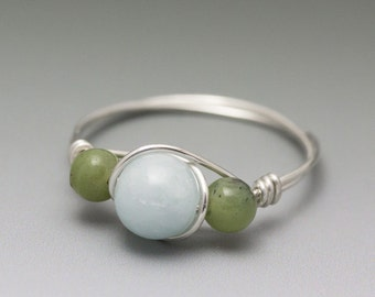 Aquamarine & Nephrite Jade Sterling Silver Wire Wrapped Bead Ring - Made to Order, Ships Fast!