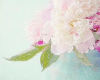 Pink Peony Photograph, Peony Art,  Floral Art Print, Housewarming Gift, Flower Wall Decor, Pink on Turquoise