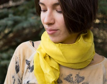 Natural dyed silk scarf with golden rod