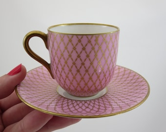 Pink Teacup and Saucer - Vintage Demitasse Tea Cup, Pink with Gold Lattice, Hutschenreuther Bavaria