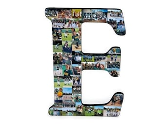 "Letter Photo Collage Letter College HUGE 18"" Anniversary Engagement Birthday Bridal Shower Best friend Gift Senior Night Graduation Number"
