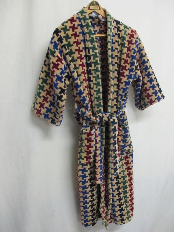 Terrycloth Robe Kimono Bath Robe 1980 Checked Robe One Size PIKUv2