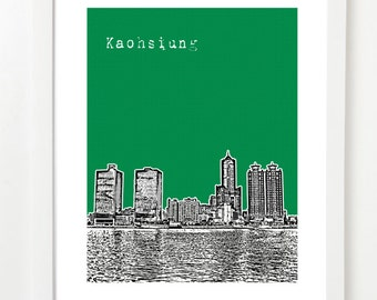 Kaohsiung Taiwan Poster  - City Skyline Art Print - Kaohsiung City Harbor Art