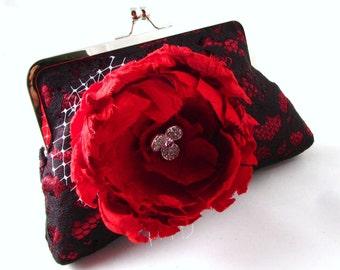 15% OFF SALE - Lace clutche, sexy red silk clutch, red flower lace clutch, evening purse, elegant black lace evening clutch