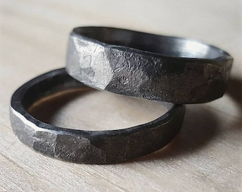 Rustic forged hammered Iron ring, Unique Men's ring made by Blacksmith, Viking ring, Iron Jewellery, Male Ring Iron Jewelry