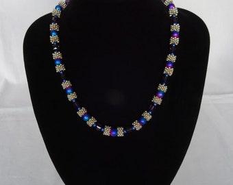 Blue/purple necklace, magnetic clasp, UK shop