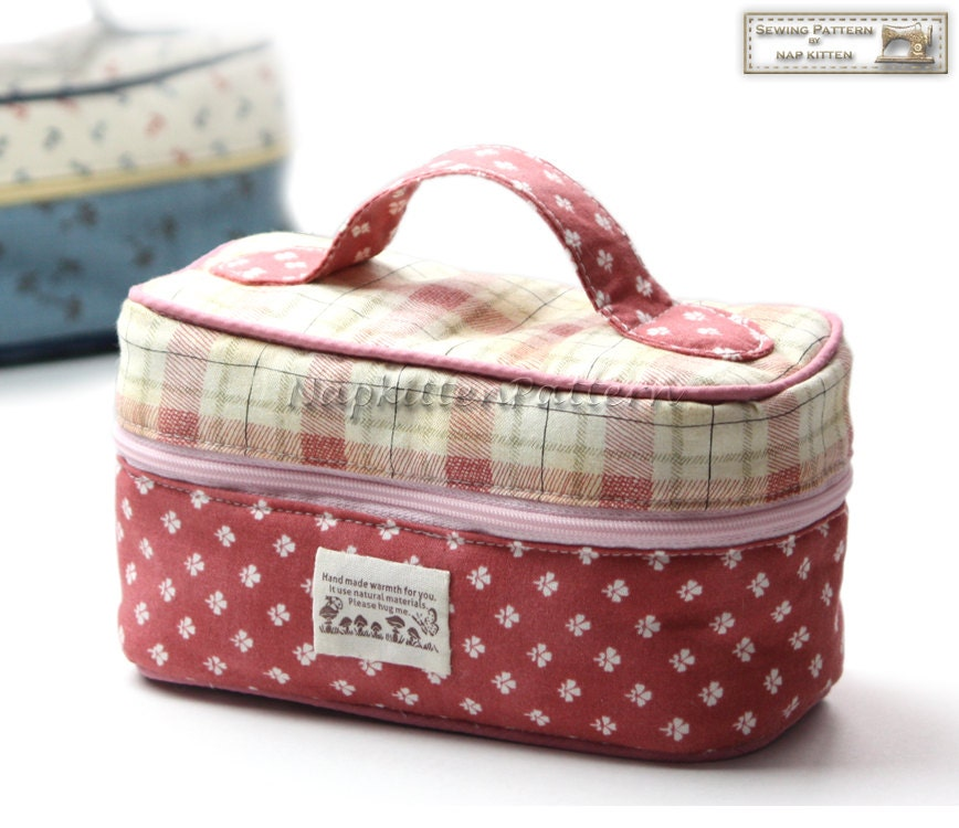 Train caseBox zippy Zippered bag sewing pattern makeup bag