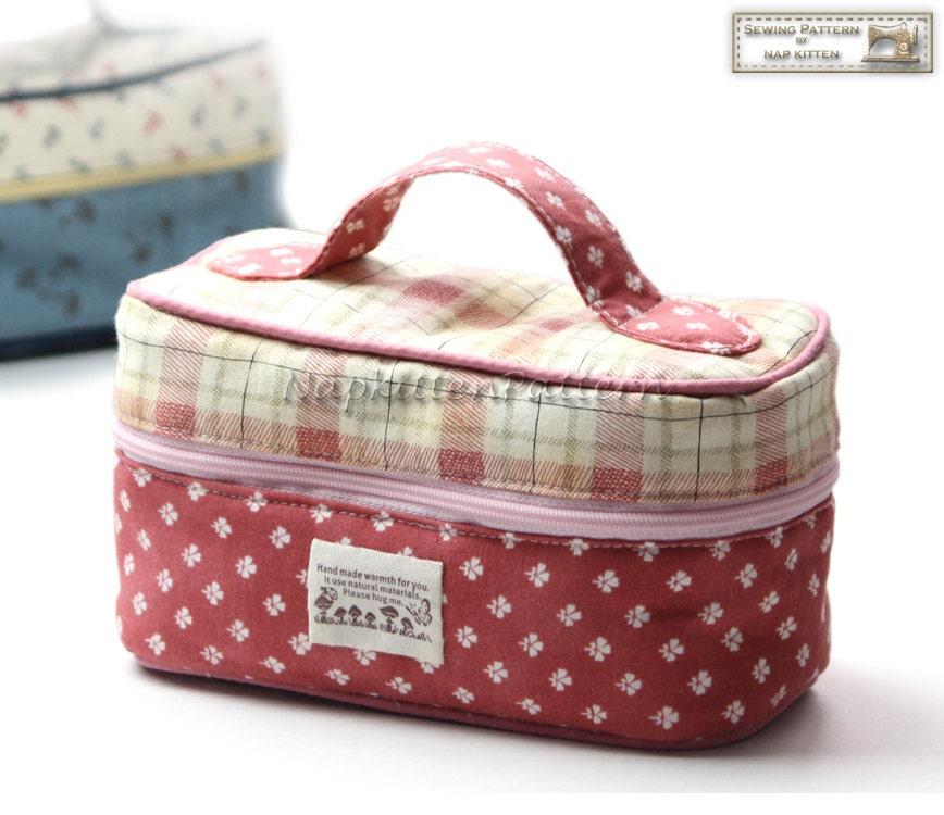 Train case,Box zippy, Zippered bag sewing pattern, makeup bag ...