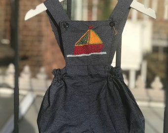 Baby boys romper, Blue romper, Sail boat design, Summer wear, Beachwear, Size 6-9 months