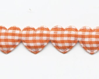 Orange gingham hearts Garland Ribbon C83 by the yard