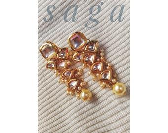 Elegant Kundan Earrings, Jadau Earrings, Indian jewellery