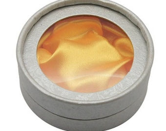 Gift box box jewelry round silver lined with Golden silk 85mm