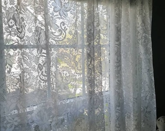 Floor length lace curtains....two panels...pure white....vintage