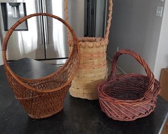 Vintage Easter Baskets - Wicker/Pink/Light/Dark/70s/Retro/Rounded/Handle/Short/Woven/Lovely/Egg/Hunt/Brown/Beige/Decorative/Holiday/Easter