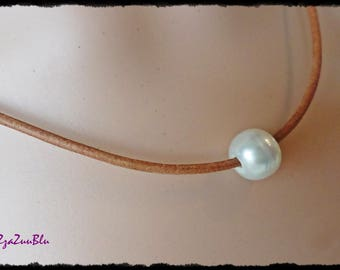 "PEARL NECKLACE LEATHER, Single Pearl Necklace, Floating Pearl Necklace, Leather Necklace, White Cultured Pearl, 18"" Necklace [N15-JP17]"