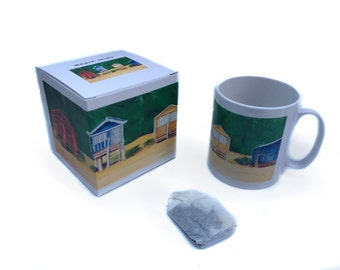 Art mug, Gift Mug  Beach Hut painting by Lydia Dawson Artwork