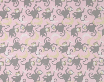 "Premier Prints Fabric-CHIMPS-Storm Grey/Grey Bella Pink fabric-Fabric  by the yard 54"" wide-Remnant End of Bolt"