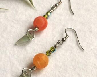 Orange lily earrings