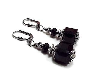 Black Earrings, Cube Earrings, Square Earrings, Drop Earrings, Gunmetal Plated, Goth Earrings, Lever Back Hook