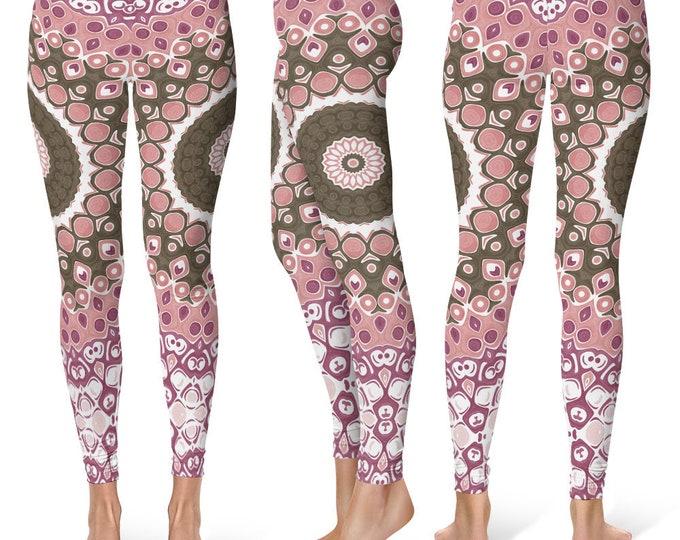 Brown and Pink Leggings Yoga Pants, Printed Yoga Tights for Women, Unique Mandala Pattern