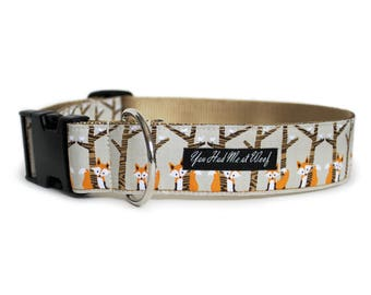 Fox Dog Collar, Can be Personalized, Designer Dog Collar for Big Large Dog, 1.5 Inch Width, Woodland, Gift Box Included- Hiding Foxes