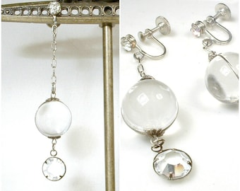 Antique POOLS of LIGHT Art Deco Earrings, 1920s Wedding Quartz Rhinestone Dangle Rock Crystal Bridal Flapper Drop Long STERLING Silver 1930