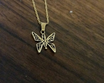 Gold Butterfly Necklace, 1970s Butterfly Gold Charm, Gold Necklace, Vintage Gold Necklace