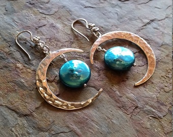 Once in a Blue Moon Crescent Earrings -