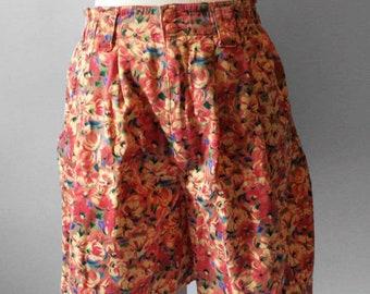 80s floral bermuda shorts