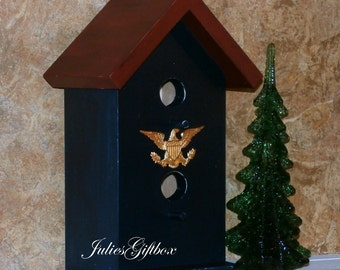 "Hand Crafted Red & Blue Duplex Wood Bird House With Brass Eagle - 11""H x 5.5W"" x 5""D - Un-screw Top For Easy Clean Out"