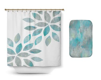 Shower Curtain, Bathroom Decor, Aqua Teal Grey, Flower petal shower curtain, Teal Bath Mat, Teal Bathroom