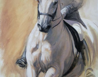 Beautiful Equine horse art horse gift wall art home decor dressage horse print 'Poise II' from an original oil sketch