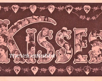 Digital download INSTANT. Post card image*Girls and the word Kisses pretty in pink.Cards,sewing,business cards,book marks,Gift tags.Logo