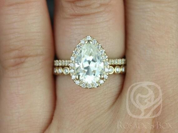 Rosados Box Tabitha 10x7mm & Petite Bubbles 14kt Yellow Gold Pear F1- Moissanite and Diamonds Halo Wedding Set