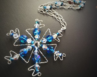Aurora Borealis Blue Crystal Snowflake Necklace, Gift for Her, Stocking Stuffer, Sterling Silver Snowflake, Christmas Gift, Solstice Gift
