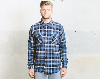 90s PLAID Flannel Shirt . Vintage Mens Blue 1990s Grunge Button Down Cotton 90s Casual Long Sleeve Hipster Lumberjack Shirt . size Large