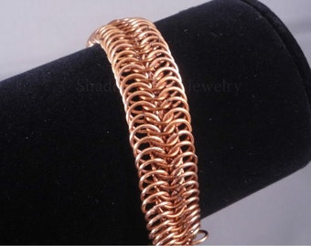 Autumn Copper Chainmaille Bracelet adjustable two tone millipede gold tone clasp E8 European 8in1 chainmail